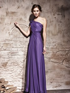 Sweet One Shoulder Purple Column/Sheath Ruching Prom Dress Side Zipper Chiffon Cap Sleeves Floor Length