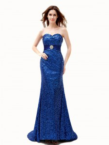 Mermaid Royal Blue Chiffon Lace Up Sweetheart Sleeveless With Train Prom Party Dress Brush Train Beading and Belt