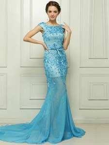 Mermaid Sleeveless Brush Train Beading and Appliques Zipper Winning Pageant Gowns