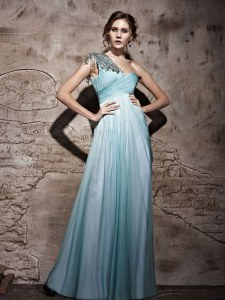One Shoulder Light Blue Sleeveless Chiffon Side Zipper Dress for Prom for Prom and Party