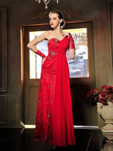 Sexy Red Sleeveless Beading and Ruching Floor Length Evening Dress