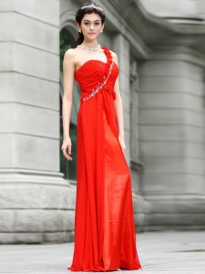 Coral Red One Shoulder Zipper Beading and Hand Made Flower Prom Party Dress Sleeveless