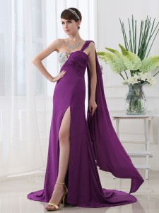 One Shoulder Beading and Sashes ribbons Evening Wear Purple Zipper Sleeveless With Brush Train