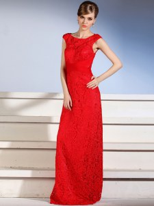 Custom Fit Red Bateau Side Zipper Lace Prom Dresses Sleeveless