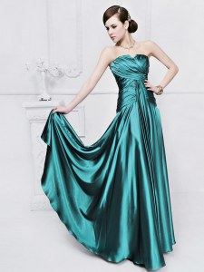 Teal Sleeveless Elastic Woven Satin Lace Up Homecoming Party Dress for Prom and Party