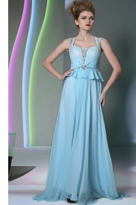 Spectacular Scoop Light Blue Column/Sheath Beading Homecoming Gowns Zipper Chiffon Sleeveless Floor Length