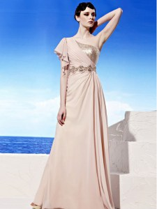 Classical Peach Side Zipper One Shoulder Sequins and Ruching Evening Dress Chiffon Sleeveless