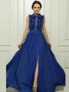 Blue Empire Chiffon High-neck Sleeveless Appliques With Train Zipper Homecoming Dress Brush Train