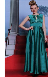 Most Popular Scoop Floor Length Side Zipper Prom Evening Gown Teal for Prom and Party with Belt
