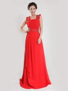 Custom Fit Coral Red Sleeveless Chiffon Zipper for Prom and Party