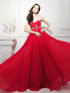 Smart Red Sleeveless Chiffon Sweep Train Zipper Evening Dress for Prom and Party