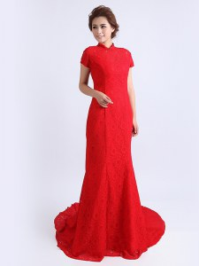 Stylish Red High-neck Neckline Lace Prom Gown Cap Sleeves Backless