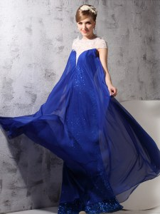 Sequins Royal Blue Sleeveless Chiffon and Sequined Zipper Evening Dress for Prom and Party