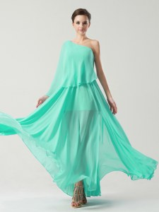 Custom Design Turquoise One Shoulder Side Zipper Ruching Prom Dresses Sleeveless