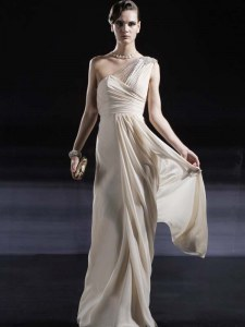 Stylish One Shoulder Champagne Column/Sheath Ruching Prom Gown Criss Cross Chiffon Sleeveless Floor Length