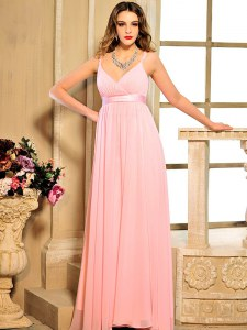 Gorgeous Baby Pink Lace Up Prom Dresses Ruching and Bowknot Sleeveless Floor Length