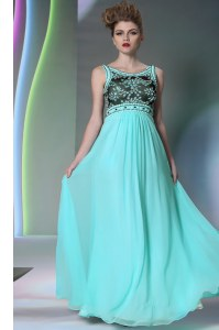 Scoop Sleeveless Floor Length Beading Side Zipper with Aqua Blue