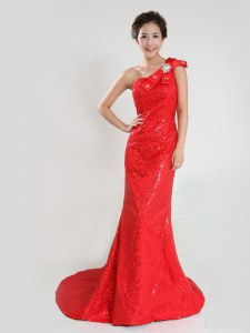 One Shoulder Coral Red Sleeveless Sequins and Bowknot Zipper Prom Party Dress
