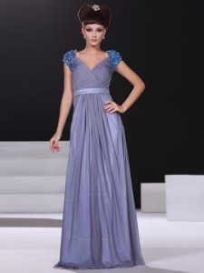 Stunning V-neck Short Sleeves Chiffon Homecoming Dress Beading and Ruching Zipper
