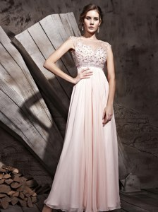 Cute Scoop Sleeveless Chiffon Prom Dress Beading Side Zipper