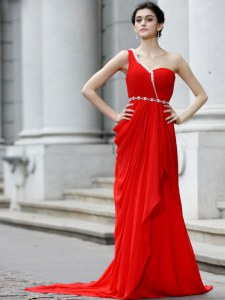 Flare One Shoulder Red Sleeveless With Train Beading and Ruching Zipper Celebrity Inspired Dress