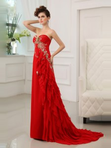 Adorable Sweetheart Sleeveless Evening Dress With Brush Train Beading and Appliques and Ruffled Layers Red Chiffon