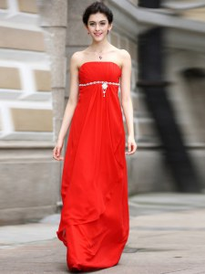 Coral Red Chiffon Zipper Strapless Sleeveless Floor Length Prom Dresses Beading and Ruching