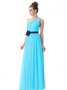 Sweet One Shoulder Blue Side Zipper Prom Evening Gown Beading and Ruching and Belt Sleeveless Floor Length