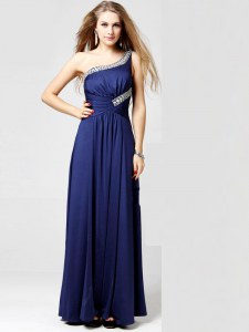 Modern One Shoulder Beading and Ruching Prom Evening Gown Blue Side Zipper Sleeveless Ankle Length