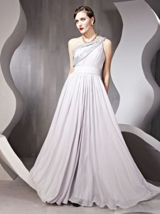 One Shoulder Silver Sleeveless Beading Floor Length Prom Dress