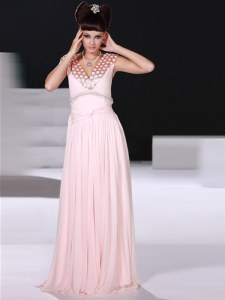 Traditional V-neck Sleeveless Pageant Dress Womens Floor Length Beading Baby Pink Chiffon