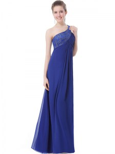 One Shoulder Sleeveless Prom Gown Floor Length Beading Blue Chiffon