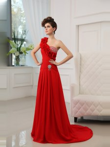 Deluxe Red Column/Sheath One Shoulder Sleeveless Satin With Train Court Train Zipper Beading and Hand Made Flower Evening Wear