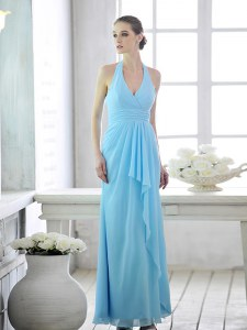 Exceptional Halter Top Baby Blue Sleeveless Ruffles and Ruching Ankle Length Evening Gowns