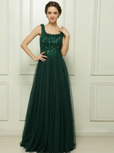 Stunning Dark Green Sleeveless With Train Beading Zipper Prom Dresses