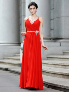 Designer Floor Length Coral Red Prom Evening Gown Chiffon Sleeveless Beading