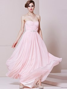 Baby Pink Zipper Prom Dresses Beading Sleeveless Floor Length