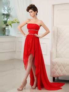 Sophisticated Sleeveless Chiffon High Low Zipper Homecoming Dress in Red with Beading and Ruffles