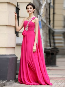 Chiffon One Shoulder Sleeveless Brush Train Zipper Beading and Sashes ribbons and Ruching Evening Dress in Hot Pink