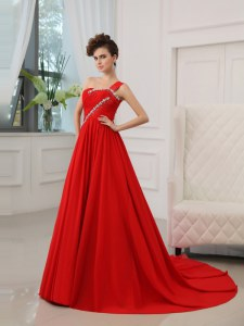 Stylish Red Zipper One Shoulder Beading and Ruching Evening Outfits Silk Like Satin Sleeveless Court Train