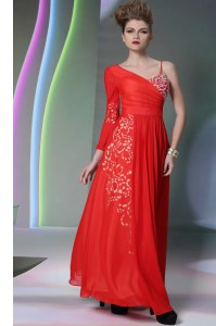 Free and Easy Beading and Embroidery Homecoming Dress Coral Red Side Zipper Long Sleeves Floor Length