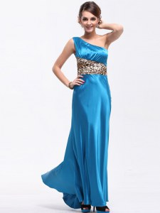 One Shoulder Floor Length Baby Blue Prom Dresses Elastic Woven Satin Sleeveless Ruching