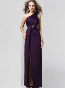 Customized One Shoulder Floor Length Column/Sheath Sleeveless Purple Homecoming Dress Criss Cross
