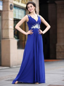 Custom Made Blue Sleeveless Beading and Appliques and Ruching Floor Length Celebrity Dresses