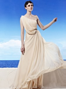 Chiffon One Shoulder Sleeveless Side Zipper Beading and Ruching Prom Party Dress in Champagne