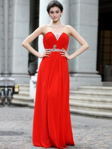 Attractive Floor Length Coral Red Dress for Prom Silk Like Satin Sleeveless Beading