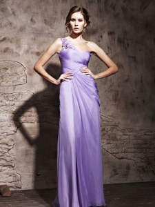 Delicate One Shoulder Lavender Sleeveless Floor Length Beading and Ruching Side Zipper Prom Gown
