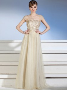 Designer Chiffon and Tulle Sleeveless Floor Length Prom Gown and Appliques