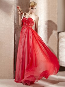 Dramatic Coral Red Sweetheart Side Zipper Beading Dress for Prom Sleeveless