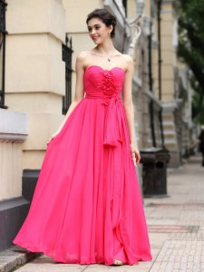 Gorgeous Sashes ribbons and Ruching and Hand Made Flower Prom Dress Hot Pink Zipper Sleeveless Floor Length